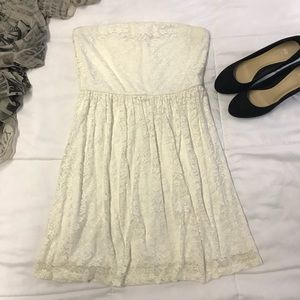Ruby Rox Ivory Lace Strapless Dress